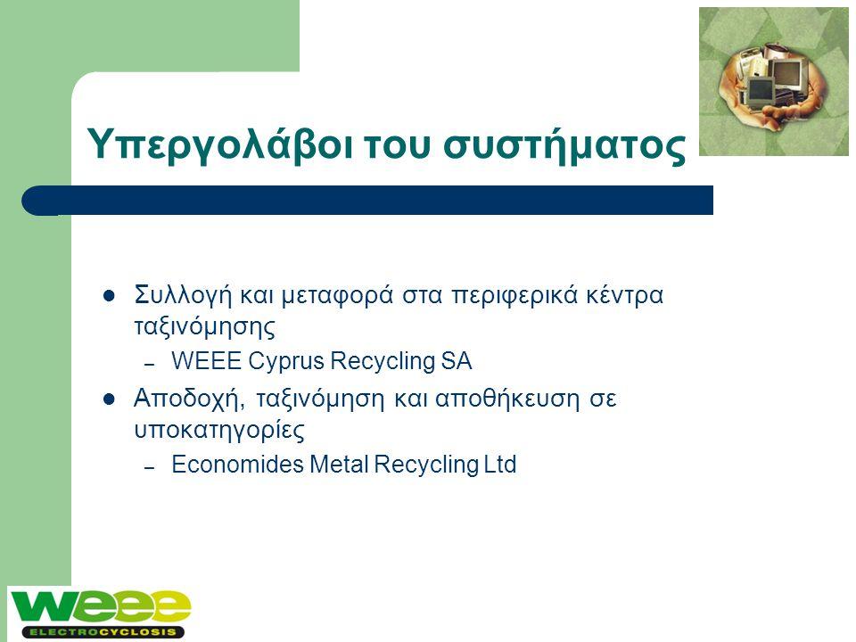 Υπεργολάβοι του συστήματος  Συλλογή και μεταφορά στα περιφερικά κέντρα ταξινόμησης – WEEE Cyprus Recycling SA  Αποδοχή, ταξινόμηση και αποθήκευση σε