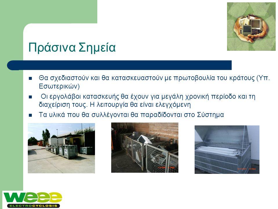 Πράσινα Σημεία  Θα σχεδιαστούν και θα κατασκευαστούν με πρωτοβουλία του κράτους (Υπ. Εσωτερικών)  Οι εργολάβοι κατασκευής θα έχουν για μεγάλη χρονικ