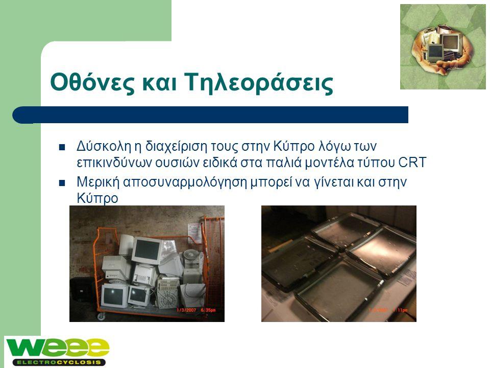 Οθόνες και Τηλεοράσεις  Δύσκολη η διαχείριση τους στην Κύπρο λόγω των επικινδύνων ουσιών ειδικά στα παλιά μοντέλα τύπου CRT  Μερική αποσυναρμολόγηση