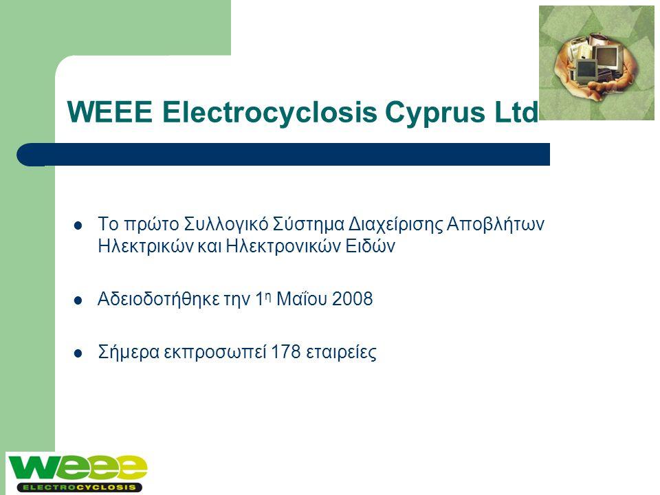 WEEE Electrocyclosis Cyprus Ltd  Το πρώτο Συλλογικό Σύστημα Διαχείρισης Αποβλήτων Ηλεκτρικών και Ηλεκτρονικών Ειδών  Αδειοδοτήθηκε την 1 η Μαΐου 200