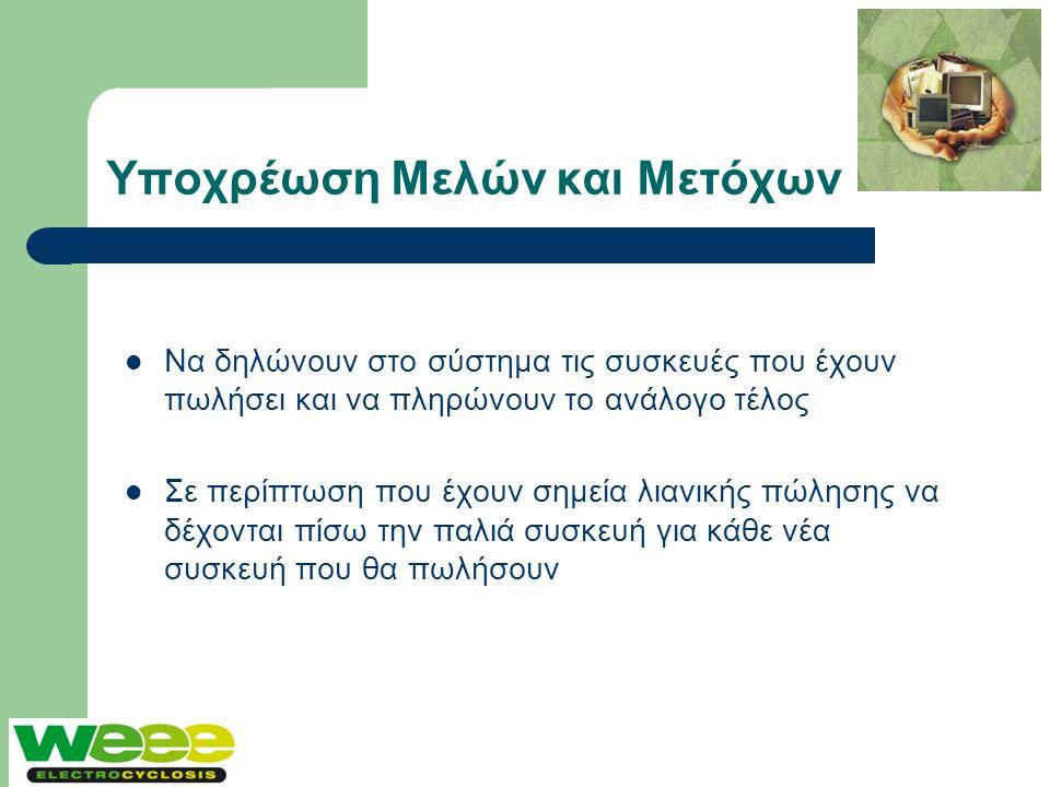 Υποχρέωση Μελών και Μετόχων  Να δηλώνουν στο σύστημα τις συσκευές που έχουν πωλήσει και να πληρώνουν το ανάλογο τέλος  Σε περίπτωση που έχουν σημεία
