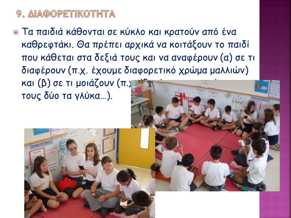  Τα παιδιά κάθονται σε κύκλο και κρατούν από ένα καθρεφτάκι. Θα πρέπει αρχικά να κοιτάξουν το παιδί που κάθεται στα δεξιά τους και να αναφέρουν (α) σ