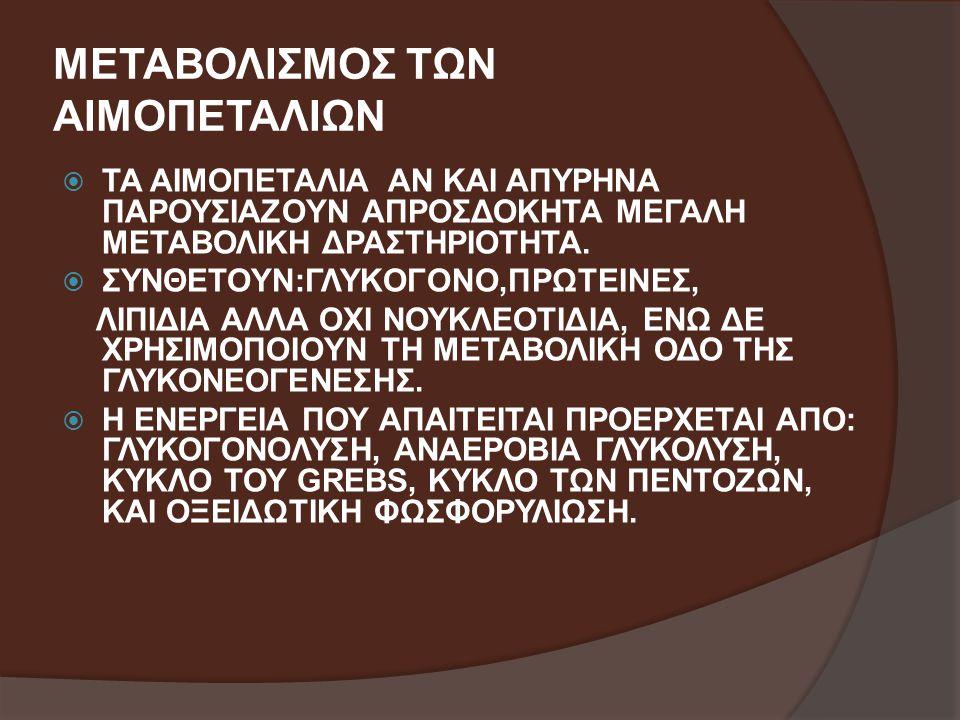 ΜΕΤΑΒΟΛΙΣΜΟΣ ΤΩΝ ΑΙΜΟΠΕΤΑΛΙΩΝ  ΤΑ ΑΙΜΟΠΕΤΑΛΙΑ ΑΝ ΚΑΙ ΑΠΥΡΗΝΑ ΠΑΡΟΥΣΙΑΖΟΥΝ ΑΠΡΟΣΔΟΚΗΤΑ ΜΕΓΑΛΗ ΜΕΤΑΒΟΛΙΚΗ ΔΡΑΣΤΗΡΙΟΤΗΤΑ.  ΣΥΝΘΕΤΟΥΝ:ΓΛΥΚΟΓΟΝΟ,ΠΡΩΤΕΙΝΕ