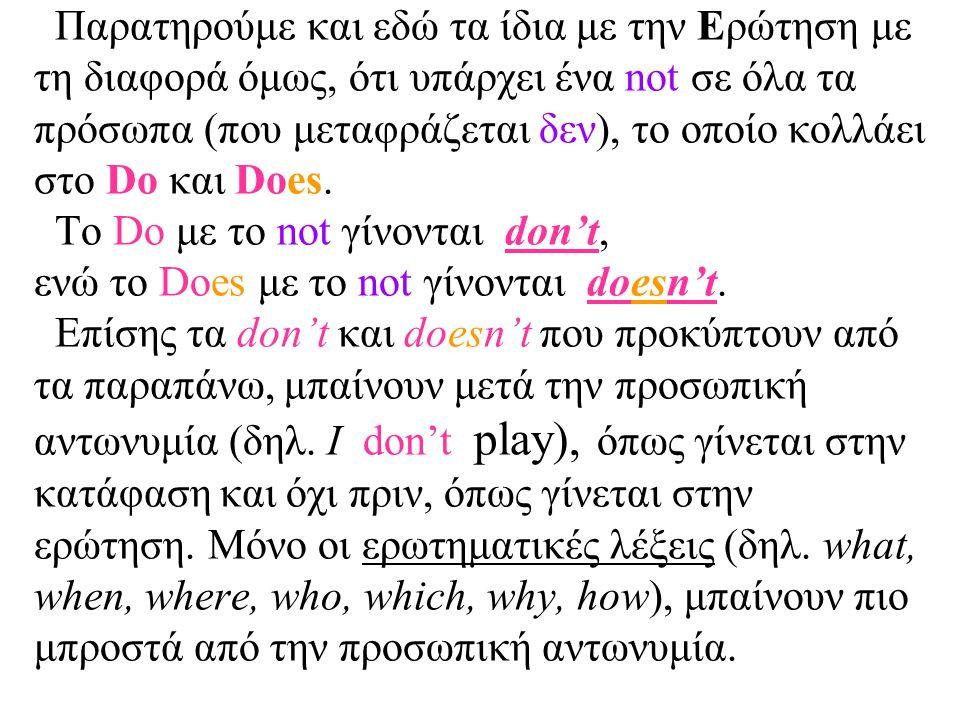 Παρατηρούμε και εδώ τα ίδια με την Ερώτηση με τη διαφορά όμως, ότι υπάρχει ένα not σε όλα τα πρόσωπα (που μεταφράζεται δεν), το οποίο κολλάει στο Do κ