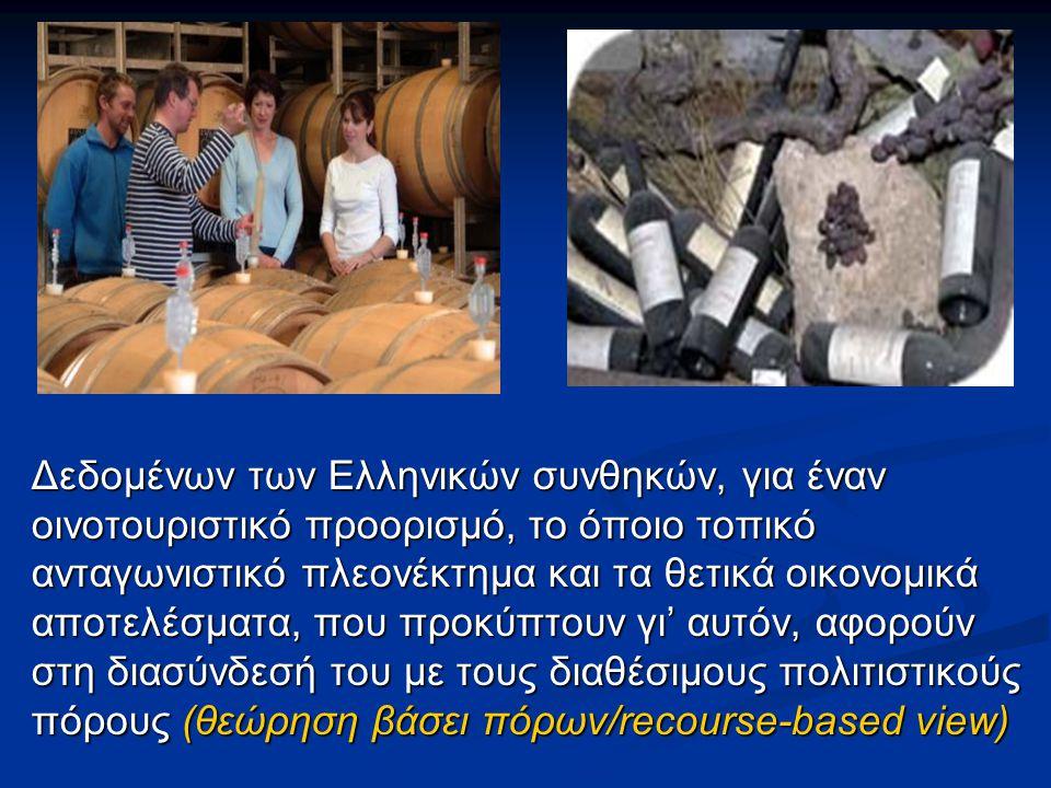 Δεδομένων των Ελληνικών συνθηκών, για έναν οινοτουριστικό προορισμό, το όποιο τοπικό ανταγωνιστικό πλεονέκτημα και τα θετικά οικονομικά αποτελέσματα,