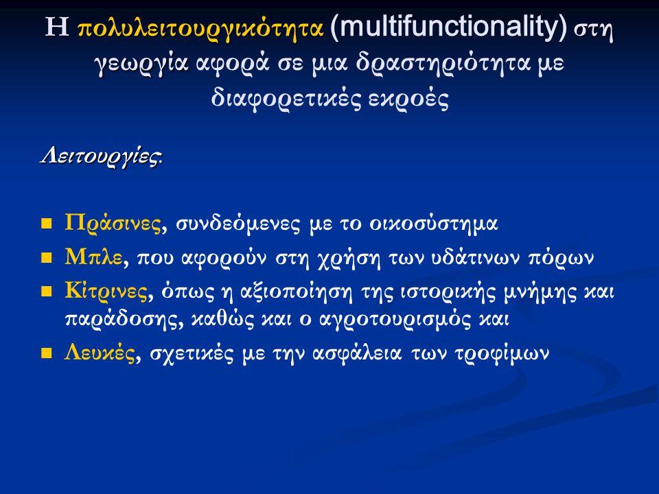 Η πολυλειτουργικότητα στη γεωργία Η πολυλειτουργικότητα (multifunctionality) στη γεωργία αφορά σε μια δραστηριότητα με διαφορετικές εκροές Λειτουργίες:   Πράσινες, συνδεόμενες με το οικοσύστημα   Μπλε, που αφορούν στη χρήση των υδάτινων πόρων   Κίτρινες, όπως η αξιοποίηση της ιστορικής μνήμης και παράδοσης, καθώς και ο αγροτουρισμός και   Λευκές, σχετικές με την ασφάλεια των τροφίμων