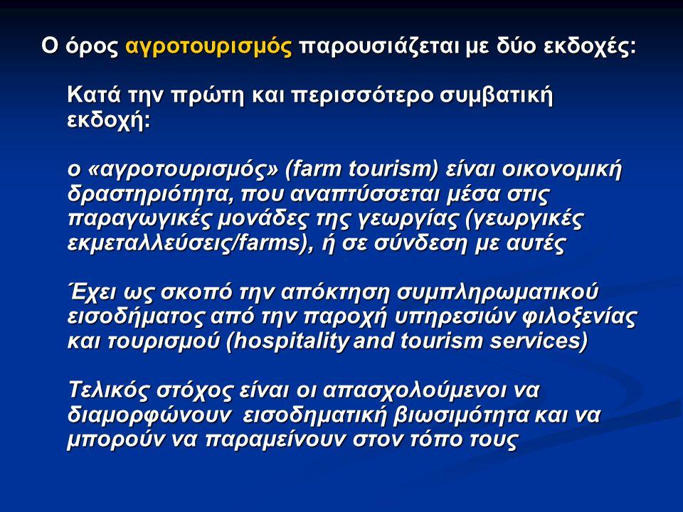 Κατά τη δεύτερη εκδοχή: που έχει επικρατήσει και στην ελληνική πραγματικότητα Κατά τη δεύτερη εκδοχή: που έχει επικρατήσει και στην ελληνική πραγματικότητα ο «αγροτουρισμός» παραπέμπει σε τουρισμό στον αγροτικό χώρο, αλλά και στην ύπαιθρο γενικότερα.