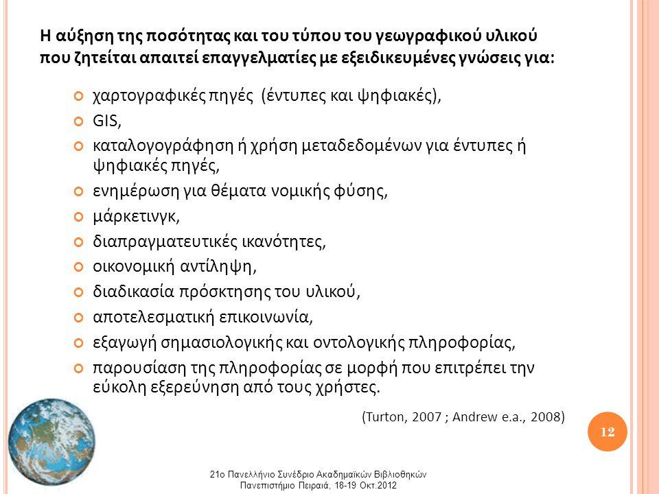 13 Η συμβολή των βιβλιοθηκονόμων στη δημιουργία πολιτικών ανάπτυξης γεωχωρικών συλλογών, εξαρτάται και καθορίζεται από: α) την γνώση του περιβάλλοντος στο οποίο θα λειτουργήσει η συλλογή και β) τις ανάγκες των χρηστών που θα εξυπηρετήσει (Abresch e.a., 2008) 21ο Πανελλήνιο Συνέδριο Ακαδημαϊκών Βιβλιοθηκών Πανεπιστήμιο Πειραιά, 18-19 Οκτ.2012