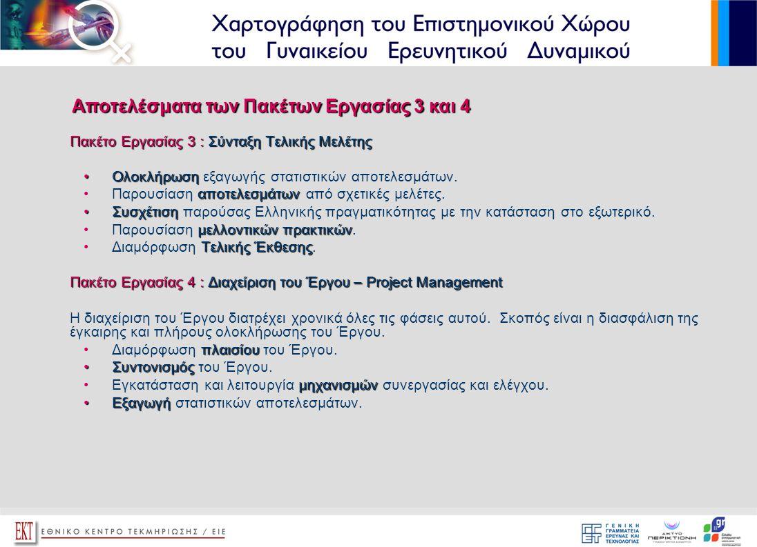 Πακέτο Εργασίας 3 : Σύνταξη Τελικής Μελέτης •Ολοκλήρωση •Ολοκλήρωση εξαγωγής στατιστικών αποτελεσμάτων. αποτελεσμάτων •Παρουσίαση αποτελεσμάτων από σχ