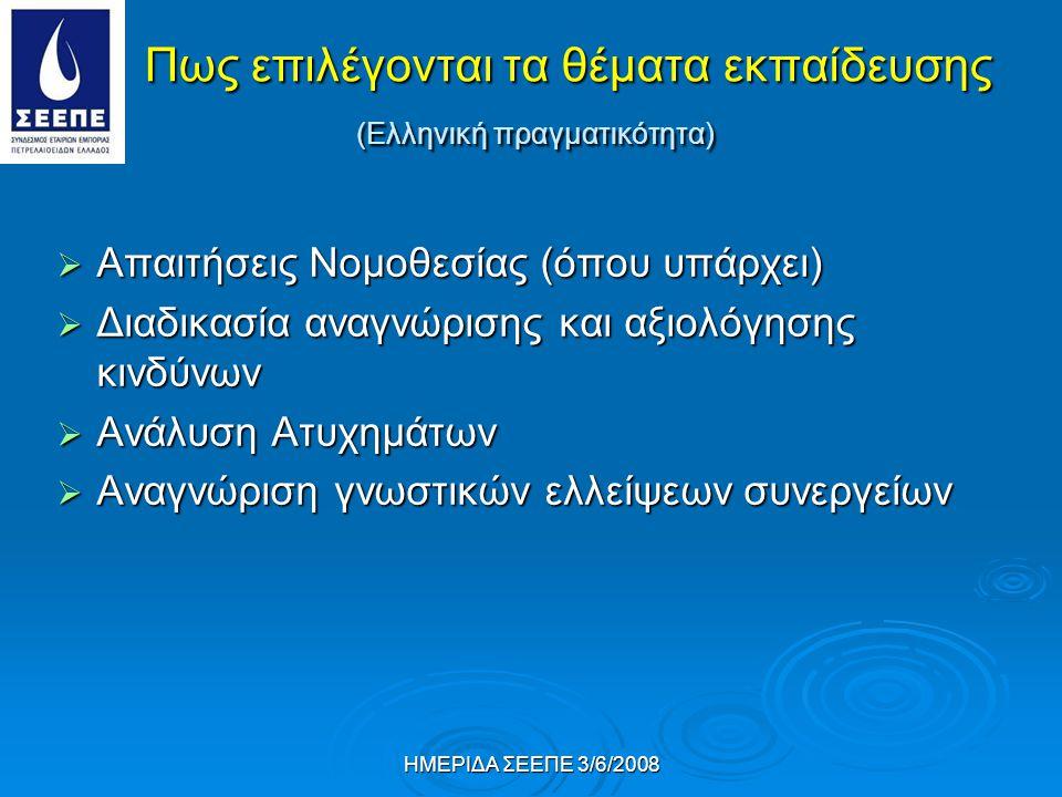ΗΜΕΡΙΔΑ ΣΕΕΠΕ 3/6/2008 Πως επιλέγονται τα θέματα εκπαίδευσης (Ελληνική πραγματικότητα)  Απαιτήσεις Νομοθεσίας (όπου υπάρχει)  Διαδικασία αναγνώρισης και αξιολόγησης κινδύνων  Ανάλυση Ατυχημάτων  Αναγνώριση γνωστικών ελλείψεων συνεργείων
