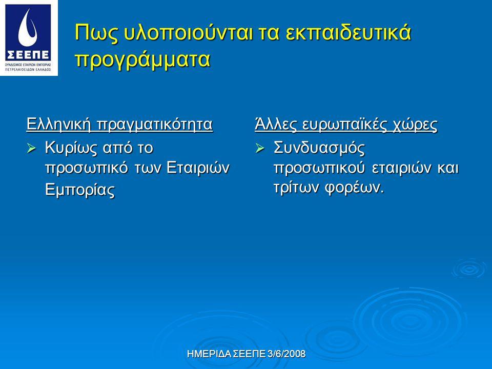 ΗΜΕΡΙΔΑ ΣΕΕΠΕ 3/6/2008 Πως υλοποιούνται τα εκπαιδευτικά προγράμματα Ελληνική πραγματικότητα  Κυρίως από το προσωπικό των Εταιριών Εμπορίας Άλλες ευρωπαϊκές χώρες  Συνδυασμός προσωπικού εταιριών και τρίτων φορέων.