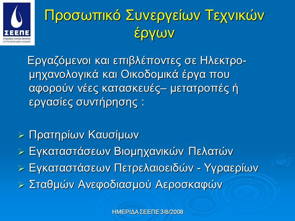 ΗΜΕΡΙΔΑ ΣΕΕΠΕ 3/6/2008 Προσωπικό Συνεργείων Τεχνικών έργων Εργαζόμενοι και επιβλέποντες σε Ηλεκτρο- μηχανολογικά και Οικοδομικά έργα που αφορούν νέες κατασκευές– μετατροπές ή εργασίες συντήρησης : Εργαζόμενοι και επιβλέποντες σε Ηλεκτρο- μηχανολογικά και Οικοδομικά έργα που αφορούν νέες κατασκευές– μετατροπές ή εργασίες συντήρησης :  Πρατηρίων Καυσίμων  Εγκαταστάσεων Βιομηχανικών Πελατών  Εγκαταστάσεων Πετρελαιοειδών - Υγραερίων  Σταθμών Ανεφοδιασμού Αεροσκαφών