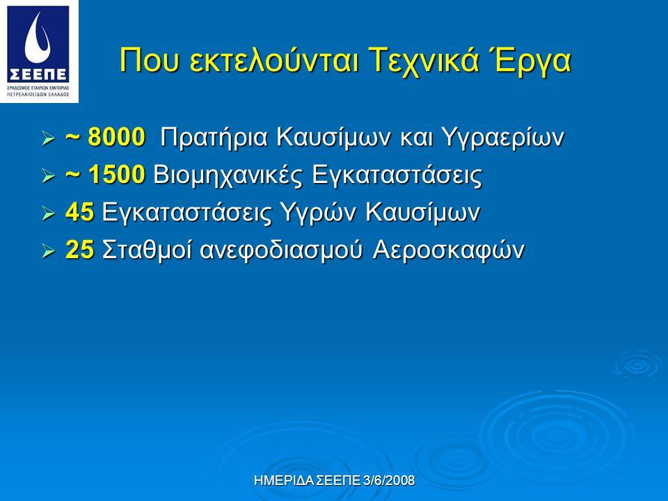 ΗΜΕΡΙΔΑ ΣΕΕΠΕ 3/6/2008 Που εκτελούνται Τεχνικά Έργα  ~ 8000 Πρατήρια Καυσίμων και Υγραερίων  ~ 1500 Βιομηχανικές Εγκαταστάσεις  45 Εγκαταστάσεις Υγρών Καυσίμων  25 Σταθμοί ανεφοδιασμού Αεροσκαφών