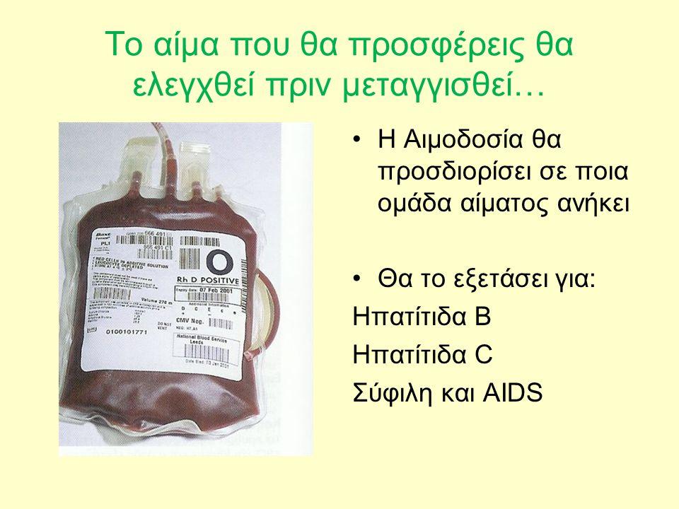 Το αίμα που θα προσφέρεις θα ελεγχθεί πριν μεταγγισθεί… •Η Αιμοδοσία θα προσδιορίσει σε ποια ομάδα αίματος ανήκει •Θα το εξετάσει για: Ηπατίτιδα Β Ηπα