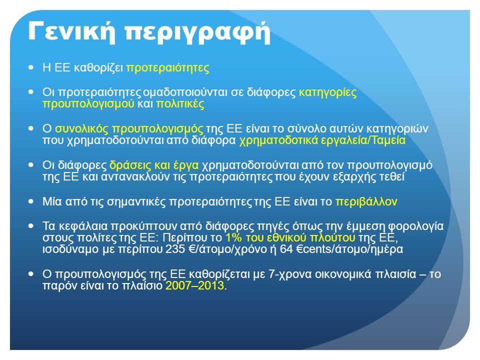 Γενική περιγραφή  Η ΕΕ καθορίζει προτεραιότητες  Οι προτεραιότητες ομαδοποιούνται σε διάφορες κατηγορίες προυπολογισμού και πολιτικές  Ο συνολικός