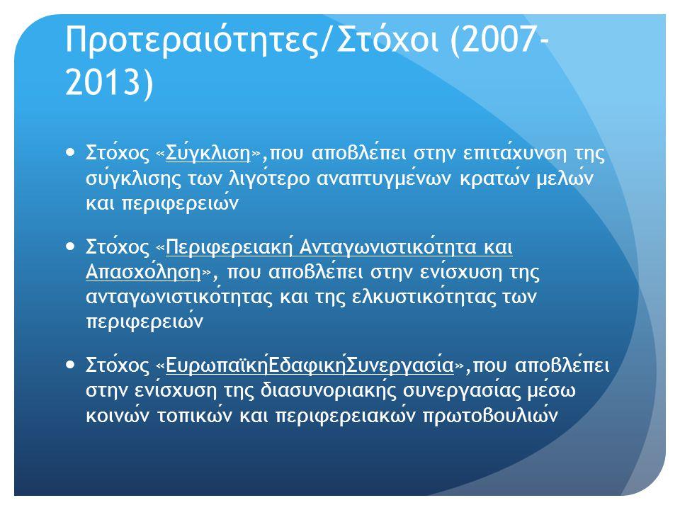 Προτεραιότητες/Στόχοι (2007- 2013)  Στοχος «Συγκλιση»,που αποβλεπει στην επιταχυνση της συγκλισης των λιγοτερο αναπτυγμενων κρατων μελων και περιφερε