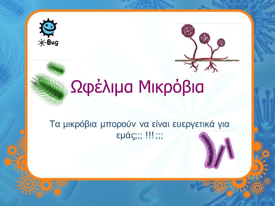 Ωφέλιμα Μικρόβια Υπάρχουν δισεκατομμύρια μικρόβια και πολύ περισσότερα, που δεν έχουμε ακόμη ανακαλύψει Τα περισσότερα από αυτά τα μικρόβια είναι είτε: •Απαραίτητα για την επιβίωση μας •Ωφέλιμα σε εμάς •Μπορούν να χρησιμεύσουν στην βιομηχανία