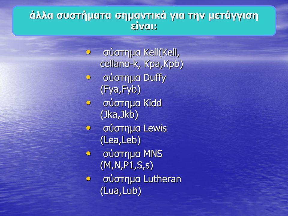 • σύστημα Kell(Kell, cellano-k, Kpa,Kpb) • σύστημα Duffy (Fya,Fyb) • σύστημα Kidd (Jka,Jkb) • σύστημα Lewis (Lea,Leb) • σύστημα MNS (M,N,P1,S,s) • σύστημα Lutheran (Lua,Lub) άλλα συστήματα σημαντικά για την μετάγγιση είναι: