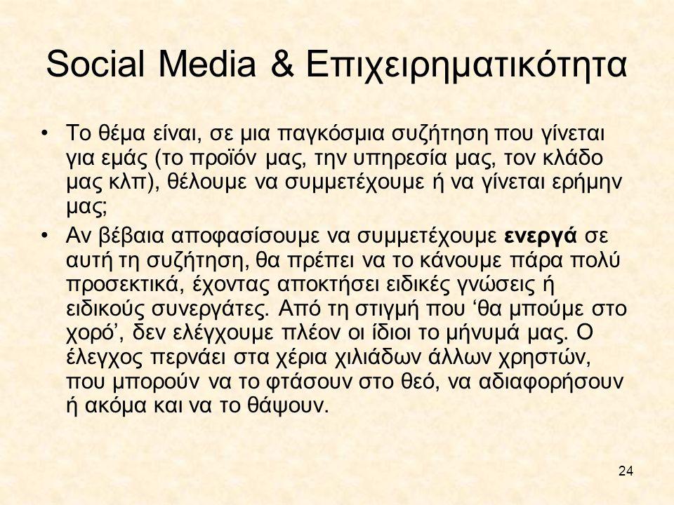 24 Social Media & Επιχειρηματικότητα •Το θέμα είναι, σε μια παγκόσμια συζήτηση που γίνεται για εμάς (το προϊόν μας, την υπηρεσία μας, τον κλάδο μας κλ