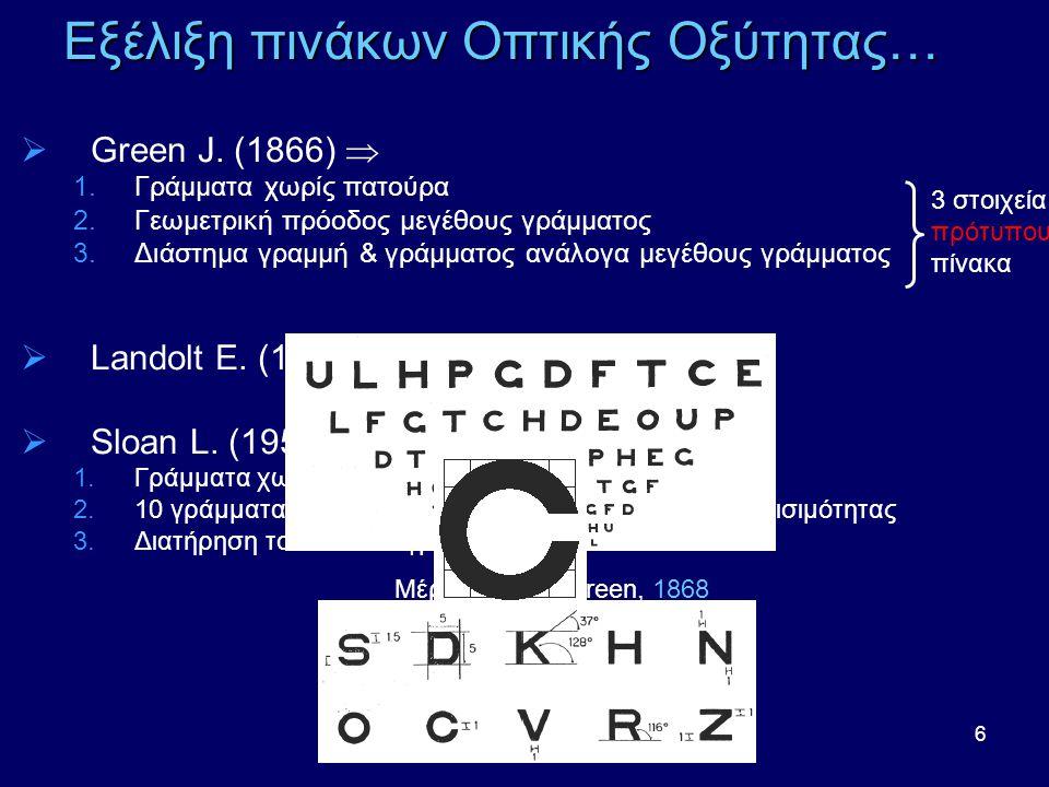 7 Εξέλιξη πινάκων Οπτικής Οξύτητας…  Bailey I.-Lovie J.