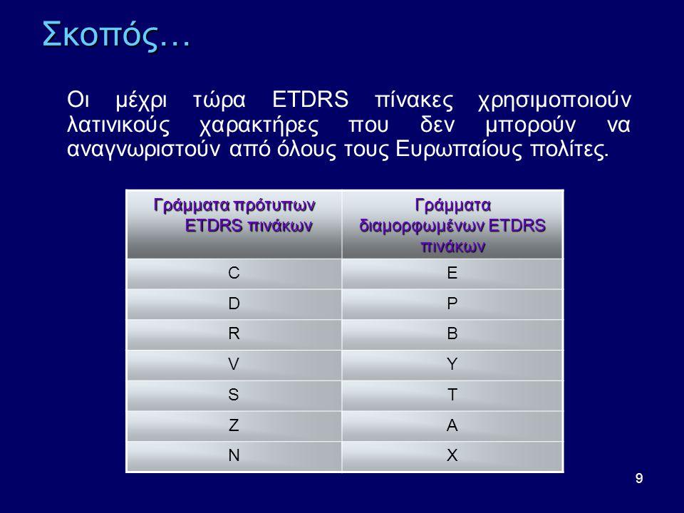 9 Σκοπός… Οι μέχρι τώρα ETDRS πίνακες χρησιμοποιούν λατινικούς χαρακτήρες που δεν μπορούν να αναγνωριστούν από όλους τους Ευρωπαίους πολίτες.