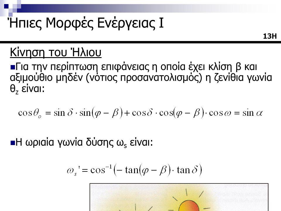Κίνηση του Ήλιου  Για την περίπτωση επιφάνειας η οποία έχει κλίση β και αξιμούθιο μηδέν (νότιος προσανατολισμός) η ζενίθια γωνία θ z είναι:  Η ωριαί