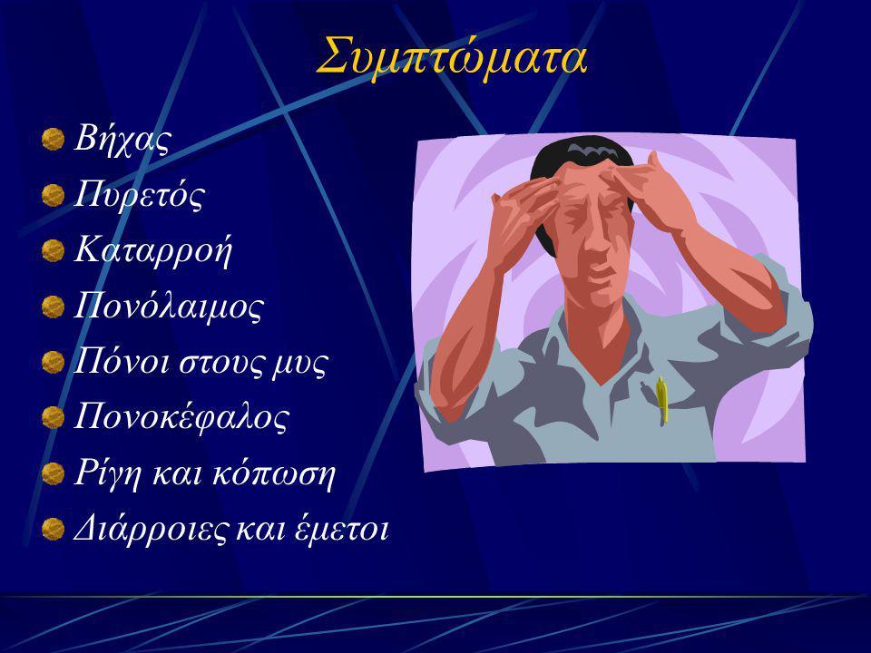 Συμπτώματα Βήχας Πυρετός Καταρροή Πονόλαιμος Πόνοι στους μυς Πονοκέφαλος Ρίγη και κόπωση Διάρροιες και έμετοι