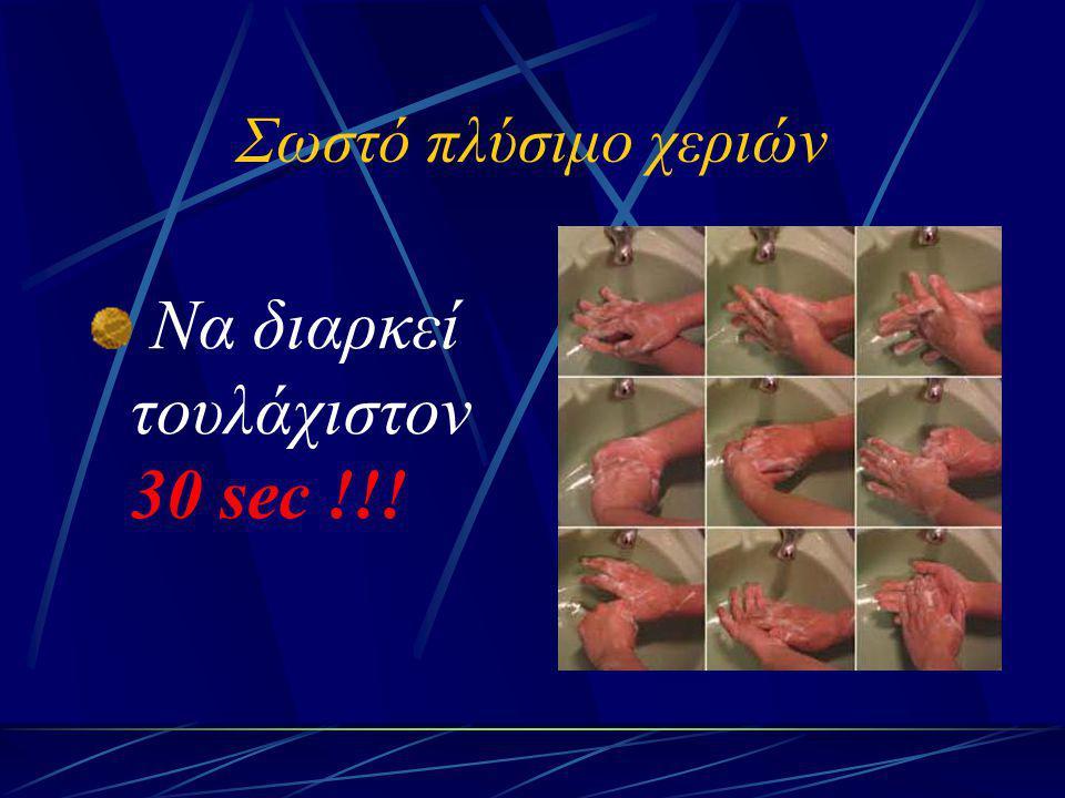 Σωστό πλύσιμο χεριών Να διαρκεί τουλάχιστον 30 sec !!!