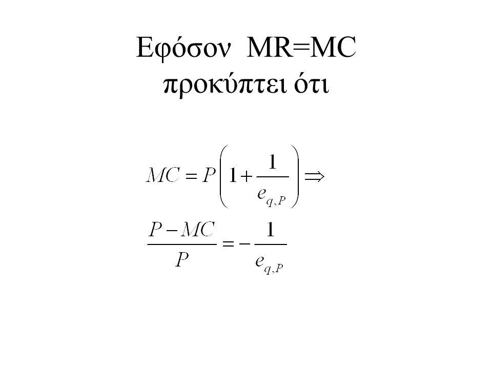 Εφόσον MR=MC προκύπτει ότι