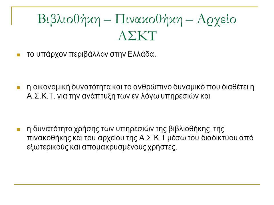 Βιβλιοθήκη – Πινακοθήκη – Αρχείο ΑΣΚΤ  το υπάρχον περιβάλλον στην Ελλάδα.