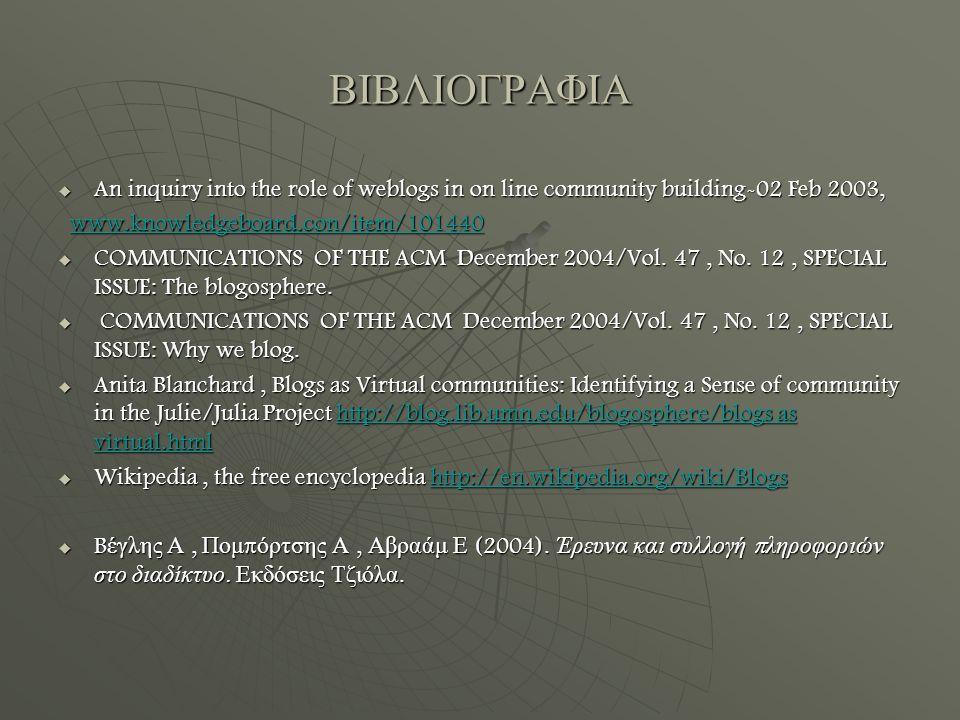 ΒΙΒΛΙΟΓΡΑΦΙΑ  An inquiry into the role of weblogs in on line community building-02 Feb 2003, www.knowledgeboard.con/item/101440 www.knowledgeboard.con/item/101440www.knowledgeboard.con/item/101440  COMMUNICATIONS OF THE ACM December 2004/Vol.