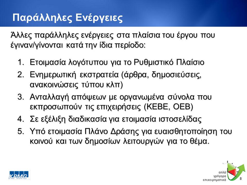 8 Παράλληλες Ενέργειες 1.Ετοιμασία λογότυπου για το Ρυθμιστικό Πλαίσιο 2.Ενημερωτική εκστρατεία (άρθρα, δημοσιεύσεις, ανακοινώσεις τύπου κλπ) 3.Ανταλλαγή απόψεων με οργανωμένα σύνολα που εκπροσωπούν τις επιχειρήσεις (ΚΕΒΕ, ΟΕΒ) 4.Σε εξέλιξη διαδικασία για ετοιμασία ιστοσελίδας 5.Υπό ετοιμασία Πλάνο Δράσης για ευαισθητοποίηση του κοινού και των δημοσίων λειτουργών για το θέμα.