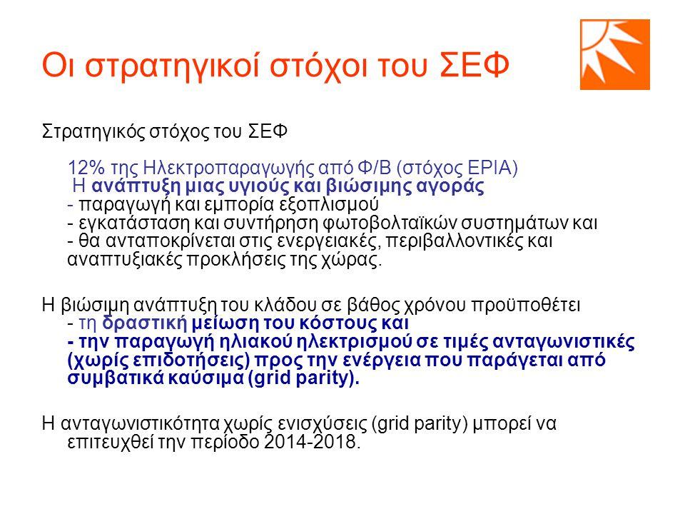 Οι στρατηγικοί στόχοι του ΣΕΦ Στρατηγικός στόχος του ΣΕΦ 12% της Ηλεκτροπαραγωγής από Φ/Β (στόχος EPIA) Η ανάπτυξη μιας υγιούς και βιώσιμης αγοράς - παραγωγή και εμπορία εξοπλισμού - εγκατάσταση και συντήρηση φωτοβολταϊκών συστημάτων και - θα ανταποκρίνεται στις ενεργειακές, περιβαλλοντικές και αναπτυξιακές προκλήσεις της χώρας.