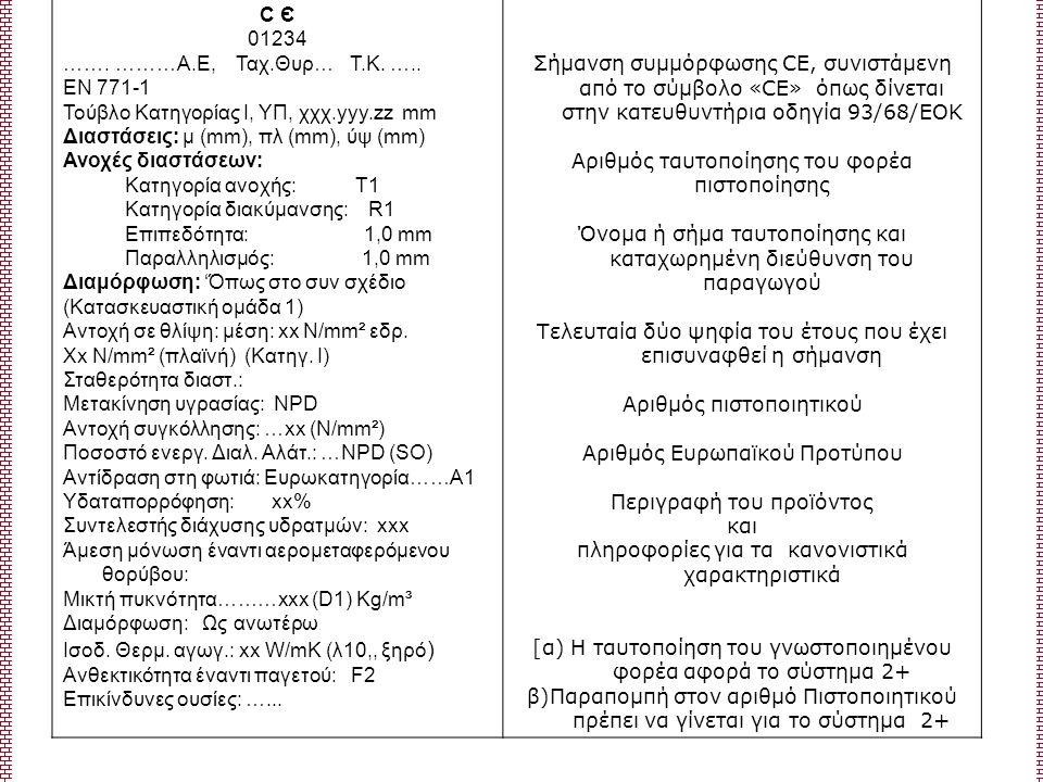 С Є 01234 ……. ………Α.Ε, Ταχ.Θυρ… Τ.Κ. ….. ΕΝ 771-1 Τούβλο Κατηγορίας Ι, ΥΠ, χχχ.yyy.zz mm Διαστάσεις: μ (mm), πλ (mm), ύψ (mm) Ανοχές διαστάσεων: Κατηγο