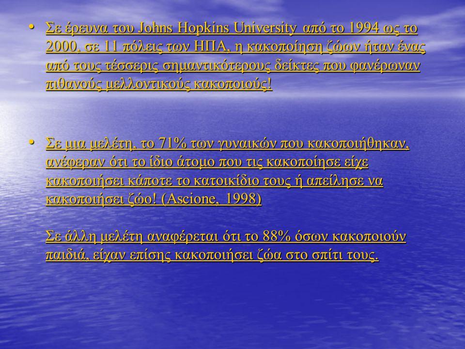 • Σε έρευνα του Johns Hopkins University από το 1994 ως το 2000, σε 11 πόλεις των ΗΠΑ, η κακοποίηση ζώων ήταν ένας από τους τέσσερις σημαντικότερους δείκτες που φανέρωναν πιθανούς μελλοντικούς κακοποιούς.