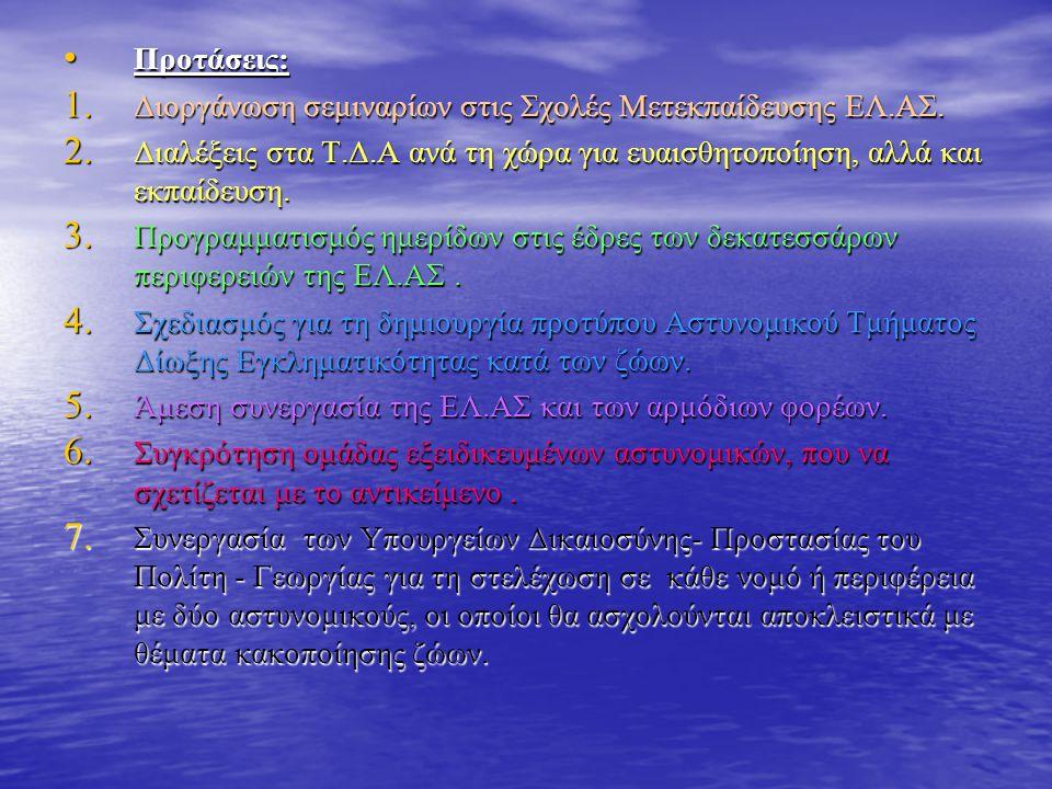 • Προτάσεις: 1. Διοργάνωση σεμιναρίων στις Σχολές Μετεκπαίδευσης ΕΛ.ΑΣ.