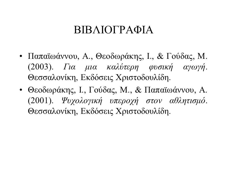 ΒΙΒΛΙΟΓΡΑΦΙΑ •Παπαϊωάννου, Α., Θεοδωράκης, Ι., & Γούδας, Μ. (2003). Για μια καλύτερη φυσική αγωγή. Θεσσαλονίκη, Εκδόσεις Χριστοδουλίδη. •Θεοδωράκης, Ι