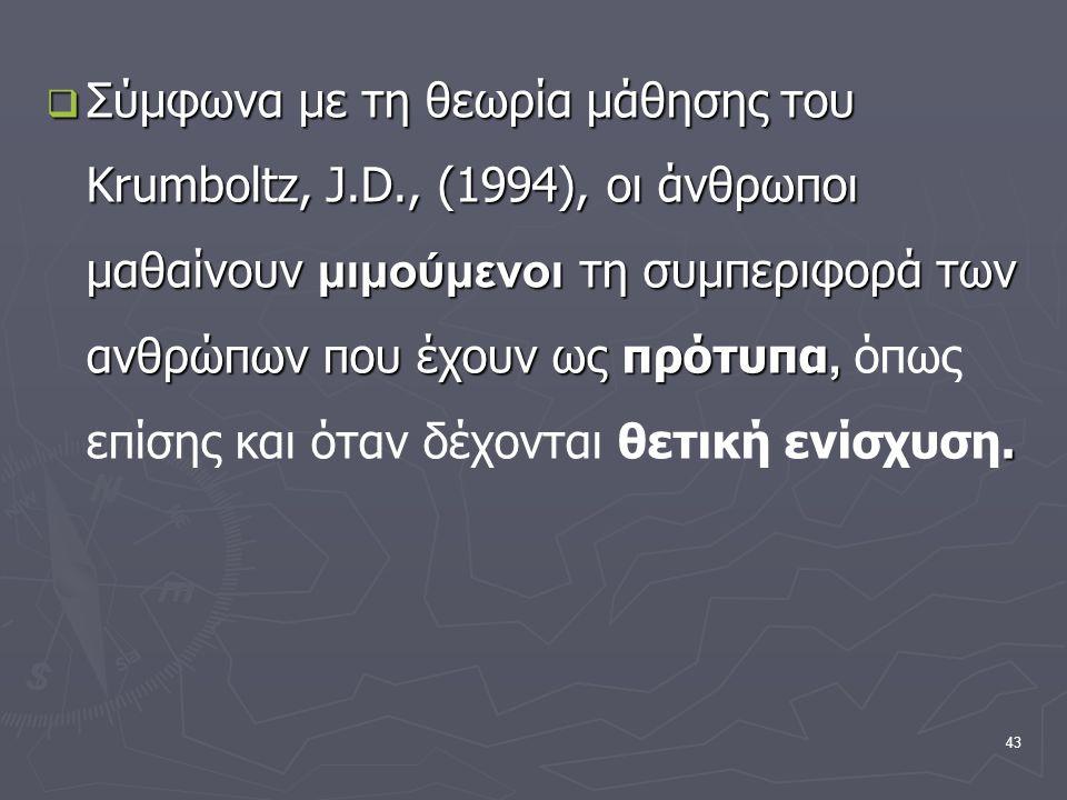 43  Σύμφωνα με τη θεωρία μάθησης του Krumboltz, J.D., (1994), οι άνθρωποι μαθαίνουν μιμούμενοι τη συμπεριφορά των ανθρώπων που έχουν ως πρότυπα,.  Σ