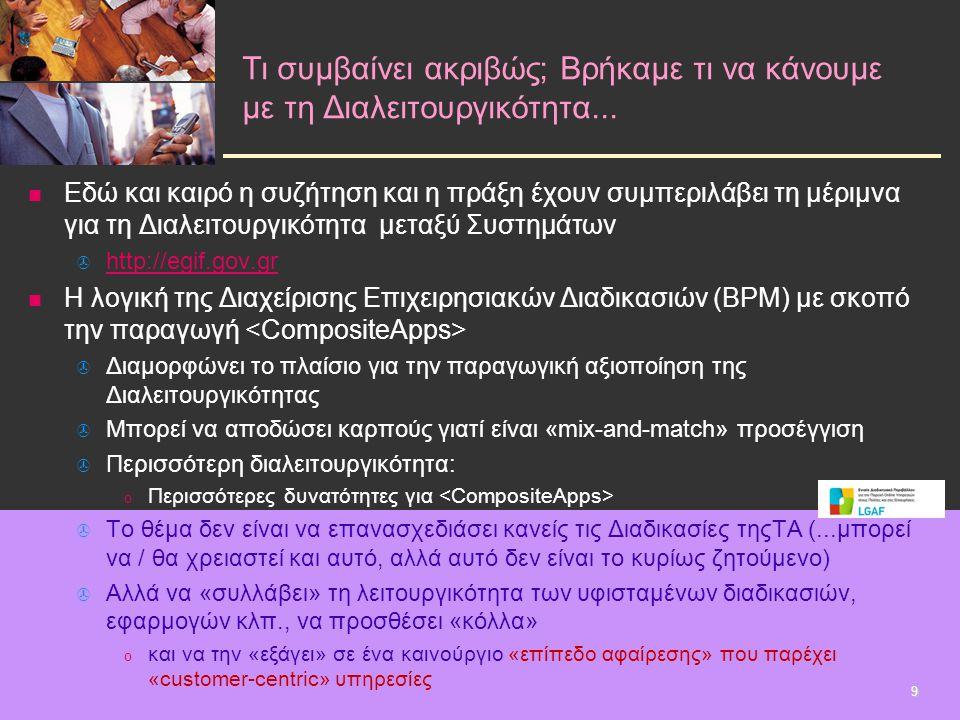   Εδώ και καιρό η συζήτηση και η πράξη έχουν συμπεριλάβει τη μέριμνα για τη Διαλειτουργικότητα μεταξύ Συστημάτων   http://egif.gov.gr http://egif.gov.gr   Η λογική της Διαχείρισης Επιχειρησιακών Διαδικασιών (BPM) με σκοπό την παραγωγή   Διαμορφώνει το πλαίσιο για την παραγωγική αξιοποίηση της Διαλειτουργικότητας   Μπορεί να αποδώσει καρπούς γιατί είναι «mix-and-match» προσέγγιση   Περισσότερη διαλειτουργικότητα: o o Περισσότερες δυνατότητες για   Το θέμα δεν είναι να επανασχεδιάσει κανείς τις Διαδικασίες τηςΤΑ (...μπορεί να / θα χρειαστεί και αυτό, αλλά αυτό δεν είναι το κυρίως ζητούμενο)   Αλλά να «συλλάβει» τη λειτουργικότητα των υφισταμένων διαδικασιών, εφαρμογών κλπ., να προσθέσει «κόλλα» o o και να την «εξάγει» σε ένα καινούργιο «επίπεδο αφαίρεσης» που παρέχει «customer-centric» υπηρεσίες Τι συμβαίνει ακριβώς; Βρήκαμε τι να κάνουμε με τη Διαλειτουργικότητα...