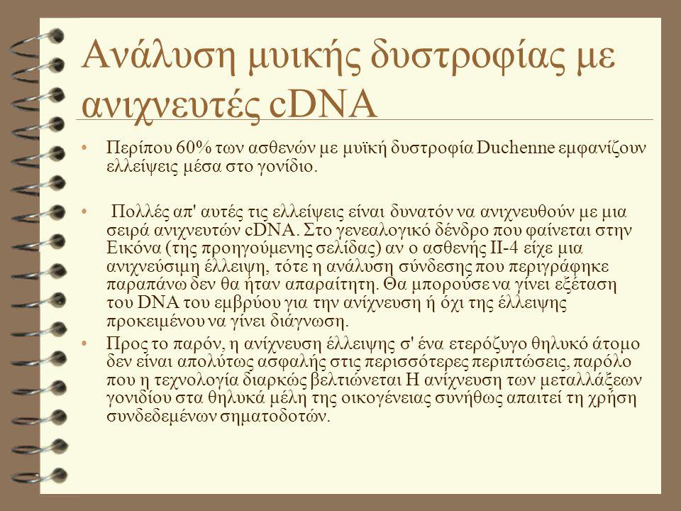 Ανάλυση μυικής δυστροφίας με ανιχνευτές cDNA •Περίπου 60% των ασθενών με μυϊκή δυστροφία Duchenne εμφανίζουν ελλείψεις μέσα στο γονίδιο. • Πολλές απ'