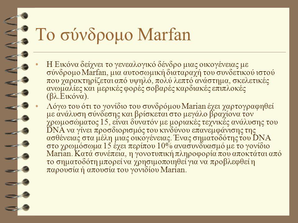 Το σύνδρομο Marfan •Η Εικόνα δείχνει το γενεαλογικό δένδρο μιας οικογένειας με σύνδρομο Marfan, μια αυτοσωμική διαταραχή του συνδετικού ιστού που χαρα