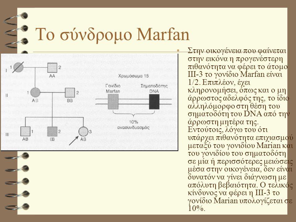 Το σύνδρομο Marfan •Στην οικογένεια που φαίνεται στην εικόνα η προγενέστερη πιθανότητα να φέρει το άτομο ΙΙΙ-3 το γονίδιο Marfan είναι 1/2. Επιπλέον,
