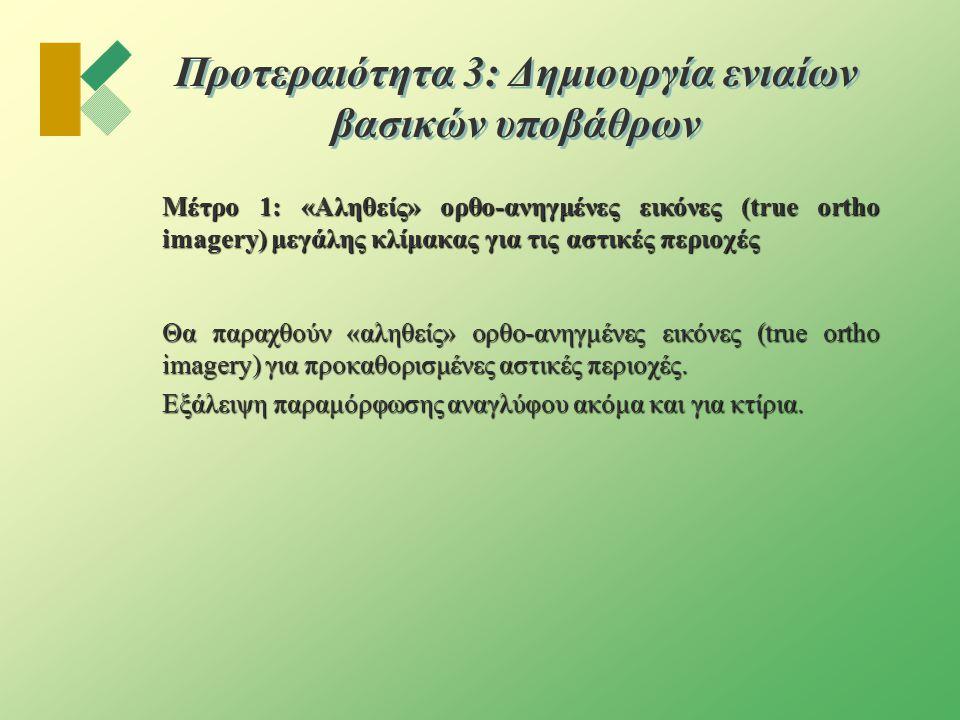 Προτεραιότητα 3: Δημιουργία ενιαίων βασικών υποβάθρων  Μέτρο 2: Ορθοφωτοχάρτες κλίμακας 1:5.000 για το σύνολο της χώρας  Περιλαμβάνει το σύνολο των ενεργειών από την αεροφωτογράφηση μέχρι και την παραγωγή των ορθοφωτοχαρτών.