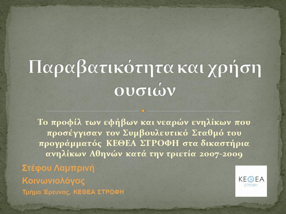 Το προφίλ των εφήβων και νεαρών ενηλίκων που προσέγγισαν τον Συμβουλευτικό Σταθμό του προγράμματός ΚΕΘΕΑ ΣΤΡΟΦΗ στα δικαστήρια ανηλίκων Αθηνών κατά την τριετία 2007-2009 Στέφου Λαμπρινή Κοινωνιολόγος Τμήμα Έρευνας, ΚΕΘΕΑ ΣΤΡΟΦΗ