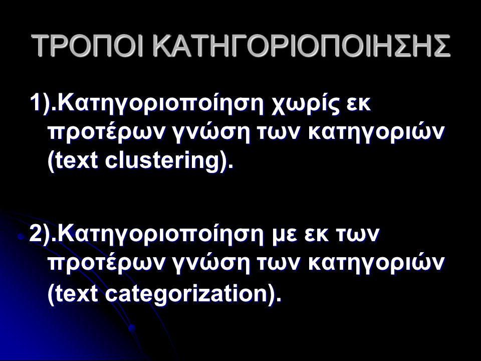 ΤΡΟΠΟΙ ΚΑΤΗΓΟΡΙΟΠΟΙΗΣΗΣ 1).Κατηγοριοποίηση χωρίς εκ προτέρων γνώση των κατηγοριών (text clustering).