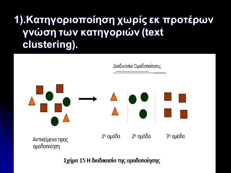 1).Κατηγοριοποίηση χωρίς εκ προτέρων γνώση των κατηγοριών (text clustering).