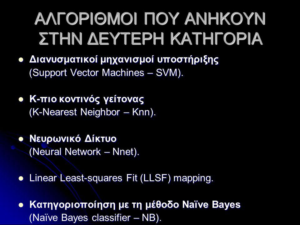 ΑΛΓΟΡΙΘΜΟΙ ΠΟΥ ΑΝΗΚΟΥΝ ΣΤΗΝ ΔΕΥΤΕΡΗ ΚΑΤΗΓΟΡΙΑ  Διανυσματικοί μηχανισμοί υποστήριξης (Support Vector Machines – SVM).