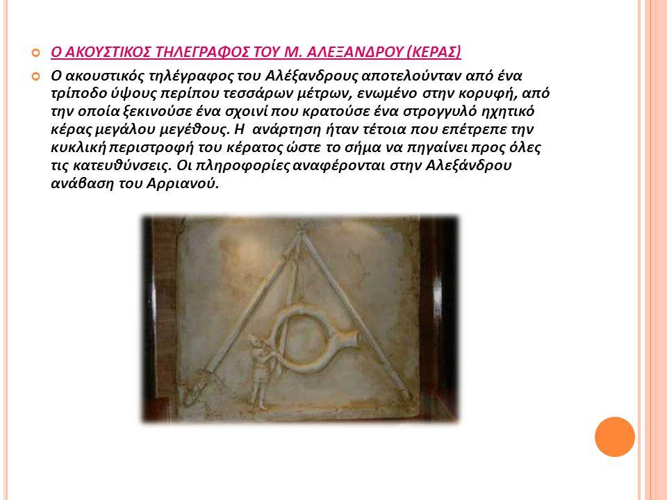 Ο ΑΚΟΥΣΤΙΚΟΣ ΤΗΛΕΓΡΑΦΟΣ ΤΟΥ Μ. ΑΛΕΞΑΝΔΡΟΥ (ΚΕΡΑΣ) Ο ακουστικός τηλέγραφος του Αλέξανδρους αποτελούνταν από ένα τρίποδο ύψους περίπου τεσσάρων μέτρων,
