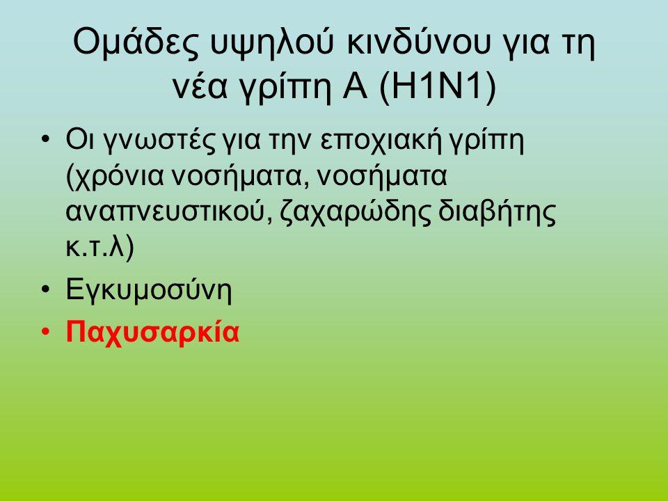 Ομάδες υψηλού κινδύνου για τη νέα γρίπη Α (Η1Ν1) •Οι γνωστές για την εποχιακή γρίπη (χρόνια νοσήματα, νοσήματα αναπνευστικού, ζαχαρώδης διαβήτης κ.τ.λ