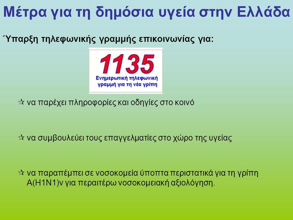Μέτρα για τη δημόσια υγεία στην Ελλάδα Ύπαρξη τηλεφωνικής γραμμής επικοινωνίας για:  να παρέχει πληροφορίες και οδηγίες στο κοινό  να συμβουλεύει το